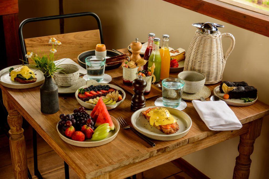 Café da manhã na Filha da Lua Eco Lodge Pipa